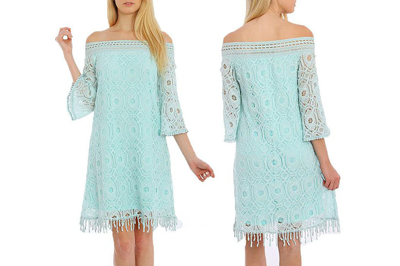 Aquarius Mini Dress Features Soft Green Color and Off Shoulder Style from Stylewe