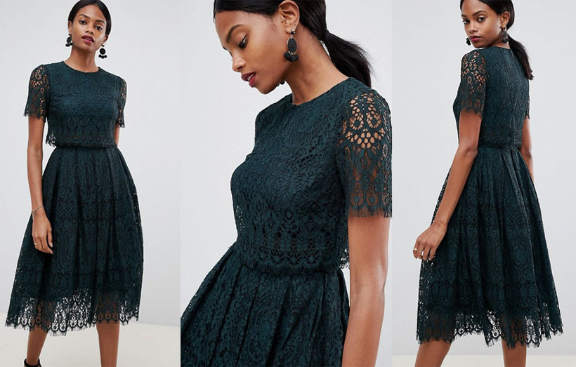 Elegan Black Prom Dress In Beautiful Lace with Short Sleeve from ASOS Design
