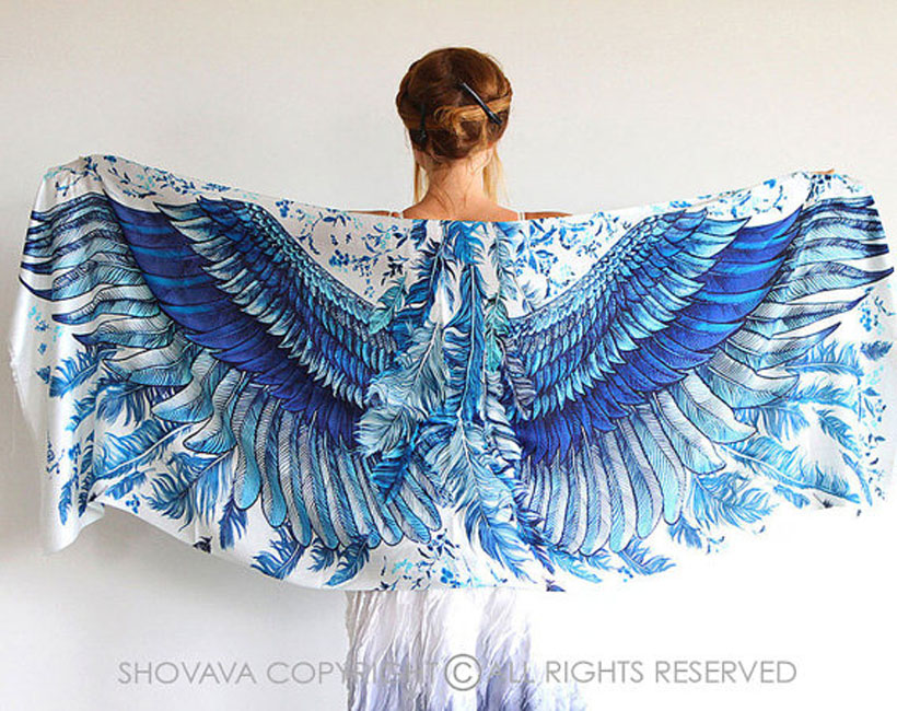 Beautiful Bohemian Blue Wing Shawl by Shovava