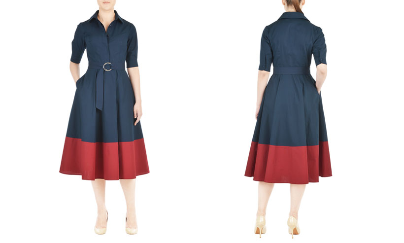 Belted Colorblock Poplin Shirtdress