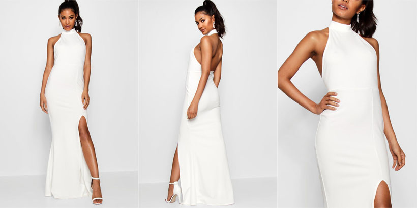 Boohoo Faith High Neck Extreme Split Front Maxi Dress Just Like Meghan's Stella McCartney Wedding Reception Gown