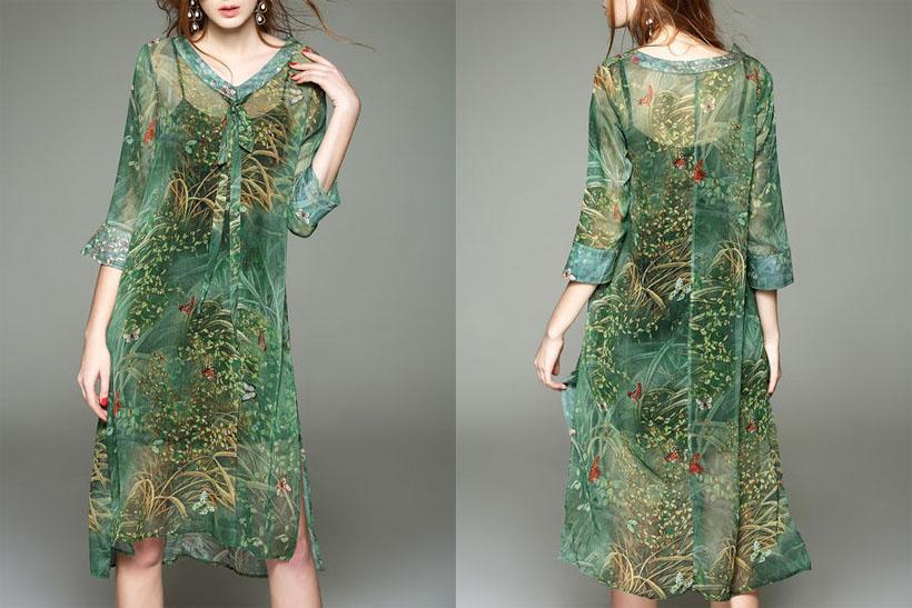 CHARSU V Neck H-line 3/4 Sleeve Vintage Midi Dress