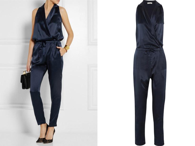 CLU Silk-satin Tuxedo Jumpsuit
