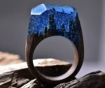 Delicate Dark Arctic Forest Ring Offers Mysterious and Unique Accessory for Your Finger