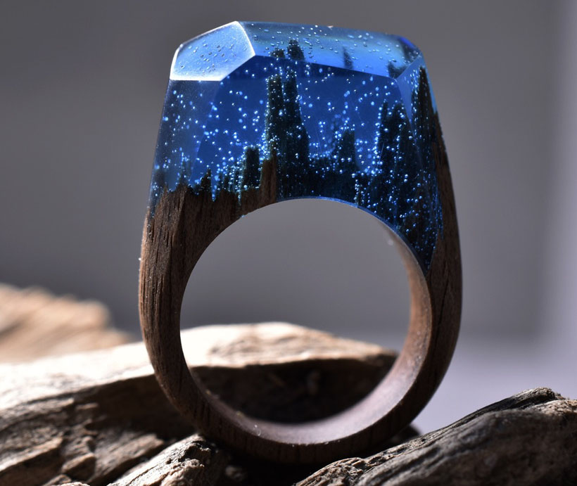 Delicate Dark Arctic Forest Ring by Secret Wood