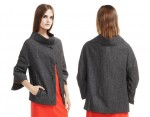 Etienne Aigner 3/4 Sleeve Boat Neck Jacket Is Crafted from Wool Blend