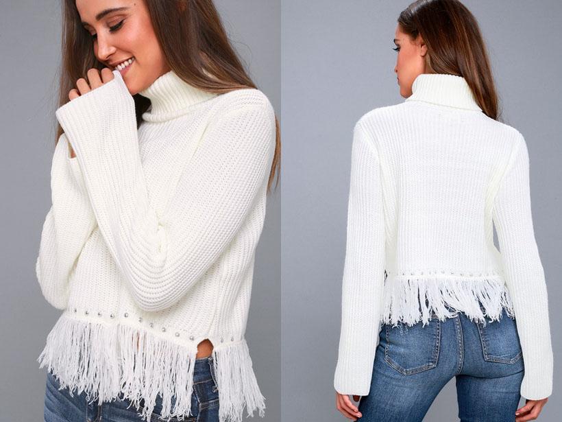 Freethinker Cream Fringe Cropped Sweater