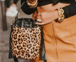 Genevieve Leopard Italian Haircalf Leather Bucket Bag Adds Drama to Your Style