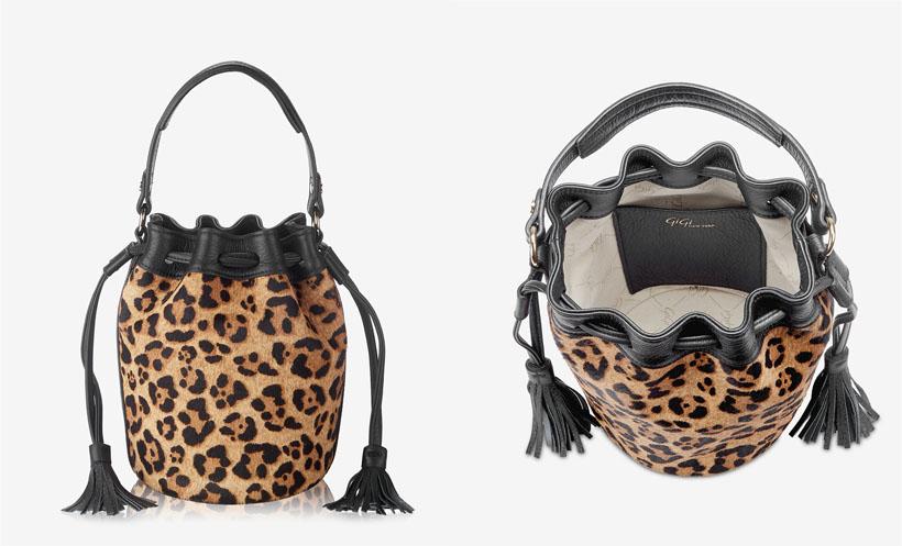 Genevieve Bucket Bag in Leopard Italian Haircalf