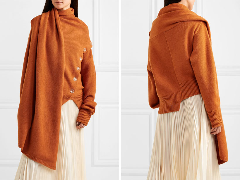 Joseph Draped Wool and Cashmere-Blend Sweater in Burnt Orange