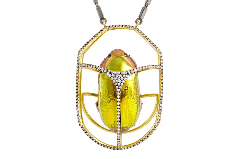 Lito Caged Scarab Pendant by Chrysina Aurigans