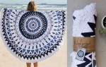 The Majorelle - Large Sized Hand Drawn Round Towel