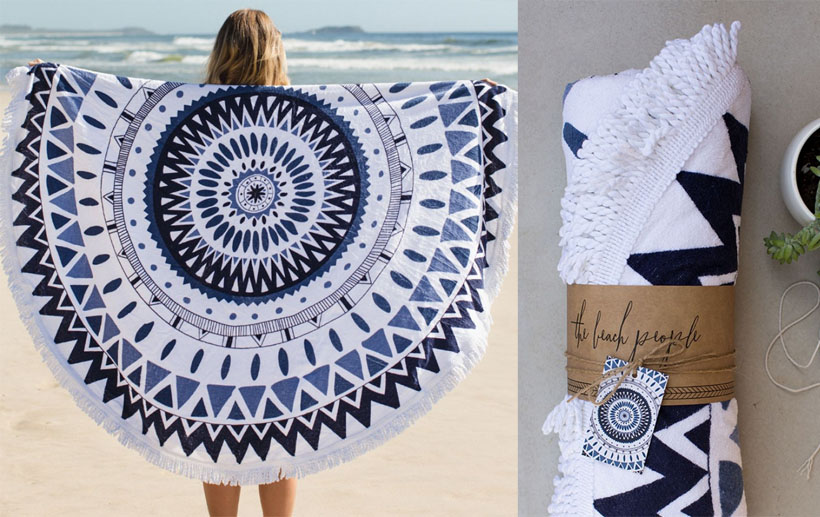 The Majorelle - Hand Drawn Round Towel