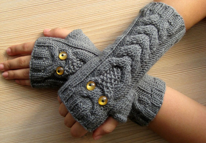 Owl Gray Fingerless Gloves by FormalHouse
