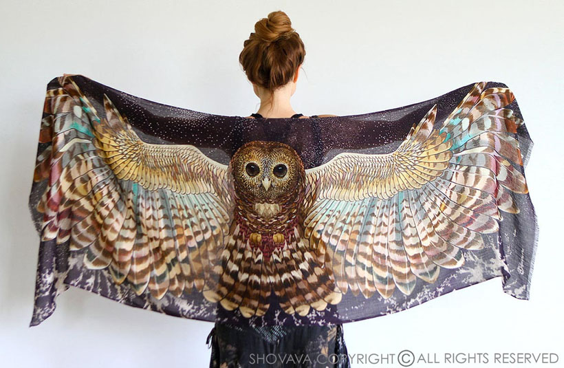 Gorgeous Owl Wings Silk Scarf Wrap by Shovava