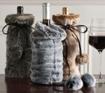 Elegant Set of Three Faux Fur Wine Bottle Covers