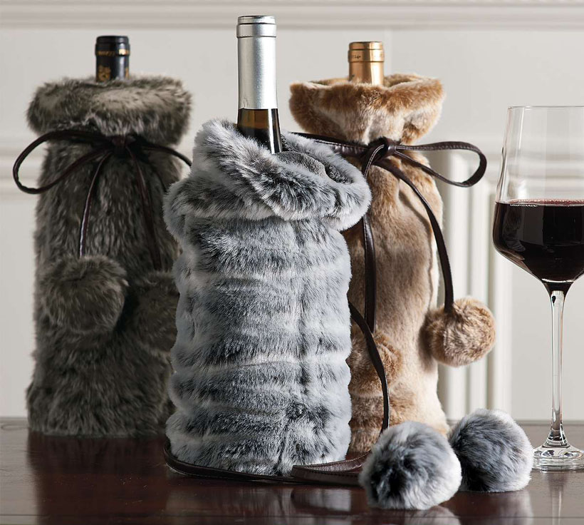 Set of Three Faux Fur Wine Bottle Covers