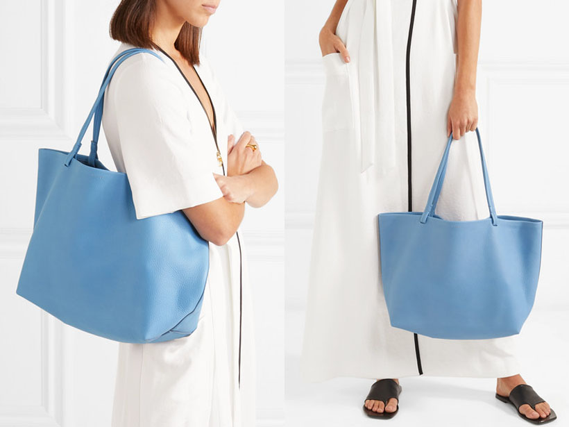 THE ROW: Park Textured-Leather Sky Blue Tote Bag