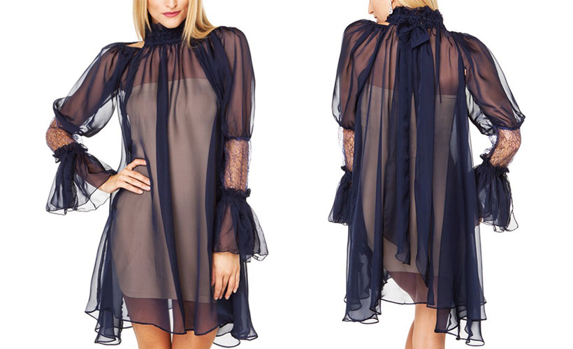 Transparent Puff Sleeves High Collar Dress
