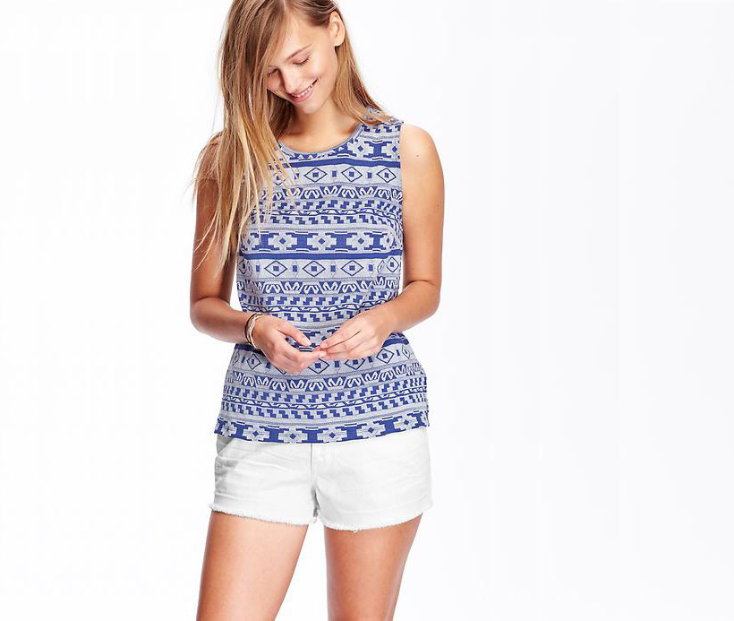 Old Navy Women's Jacquard Sleeveless Summer Tops for ...