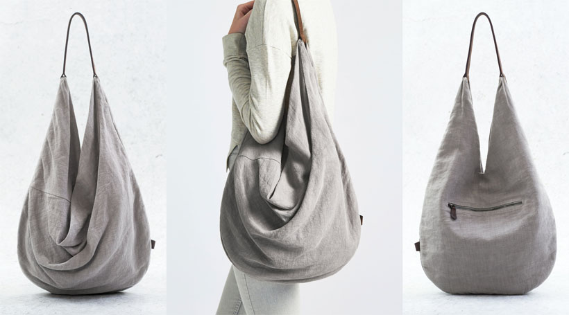 Yume Draped Linen Leather Circle Tote by Angela Sum