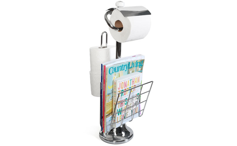 Toilet Paper Caddy Tissue Dispenser And Stand With Magazine Rack